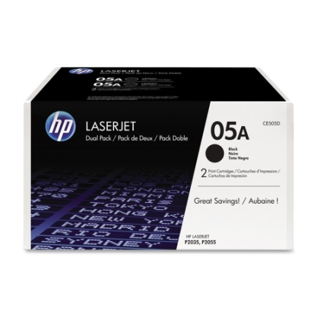 HP LaserJet CE505A Dual Pack Black Print Cartridge, черный, 2300 стр (CE505D)